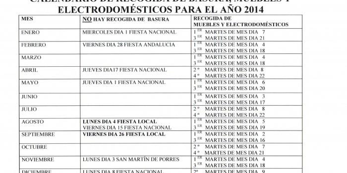 CALENDARIO DE RECOGIDA DE BASURAS, MUEBLES Y ELECTRODOMÉSTICOS