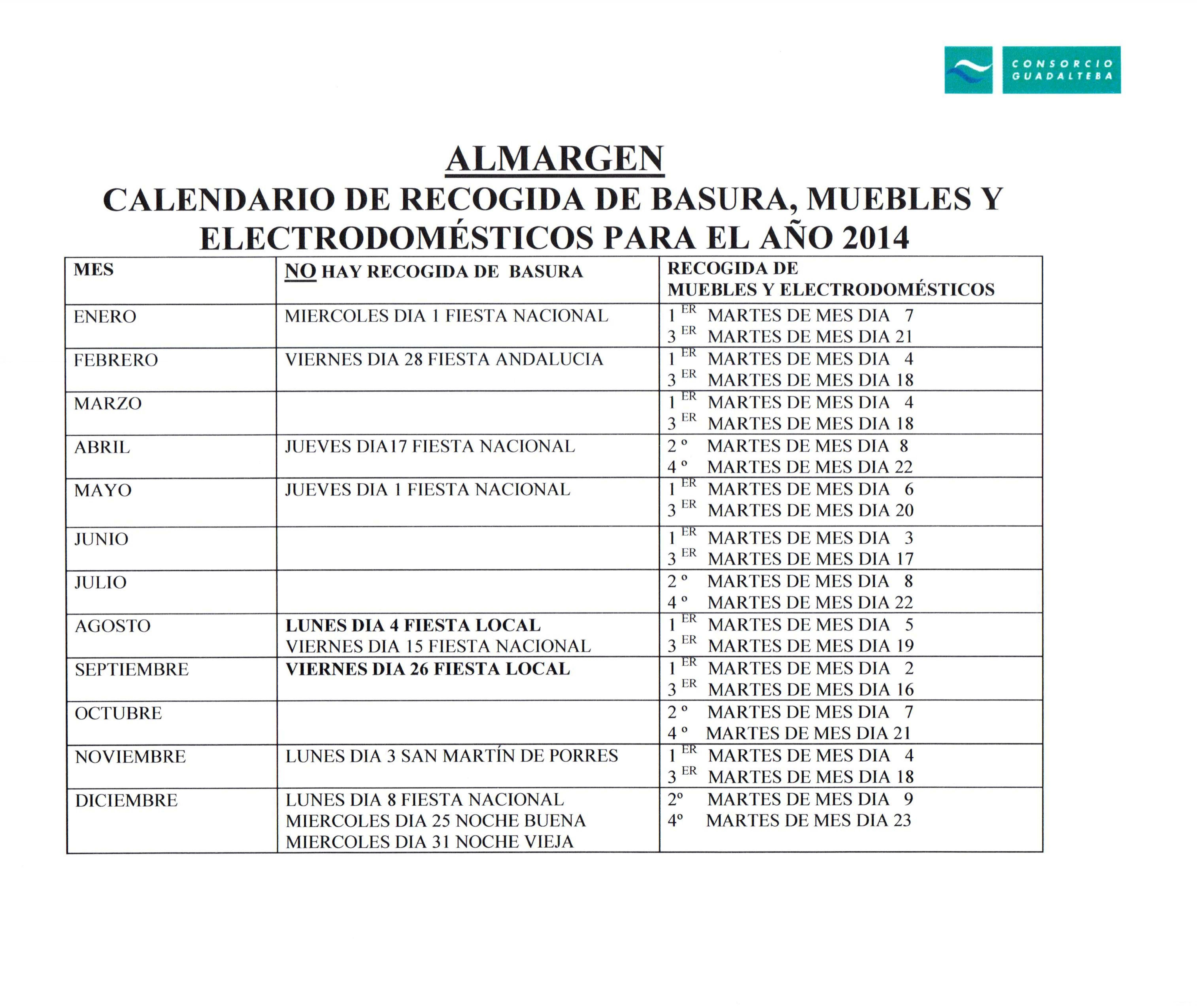 Servicio De Recogida De Muebles : Calendario de recogida basuras muebles y